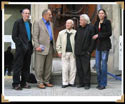 Tav Sparks, Stan Grof, Albert Hofmann, Hansruedi GIger, and Carmen Scheifele-Giger in front of Giger Museum in Gruyeres, Switzerland