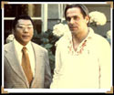 Stan with Chogyam Trungpa Rinpoche in front of the Esalen Big House